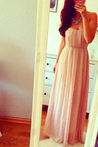 Simple And Lovely Sweetheart Pale Chiffon Pink Floor Length Prom Dresses, 2016 Lovely Prom Gown ,Evening Dresses, Bridesmaid Dresses