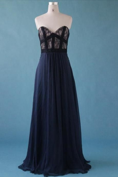 Elegant Deep Blue Sweetheart A-Line Floor Length Prom Dresses, Elegant Prom Dresses ,Evening Dresses,Bridesmaid Dresses