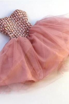 High Quality Short Chiffon Homecoming Dress, Lace-Up With Rhinestone Party Dresses, Lovely Party Dress