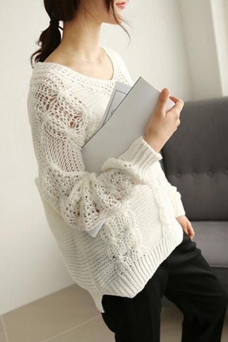 Fashion Leisure All-Match Hollow V-Neck Sweater