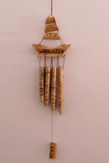 bamboo wind chimes handmade garden décor ship wind bell vintage pyrograph chime in bamboo home decoration