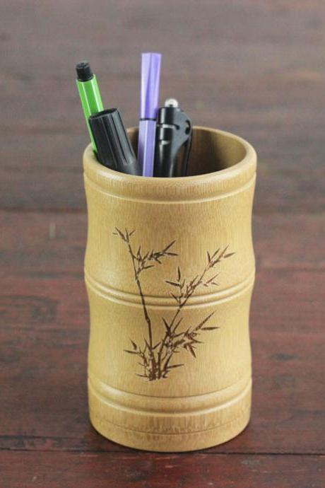 natural bamboo engraved pen holder elegant desk organizer pencil cup storage office organization pencil holder
