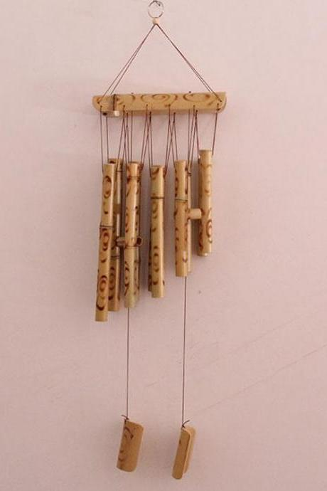 Simple bamboo windchimes art office decoration pyrograph wind bell elegant outdoor art bamboo handicraft wind chime