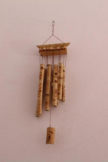 Unique house windchime in bamboo, art outdoor garden decoration wind chimes bamboo chime gift for her