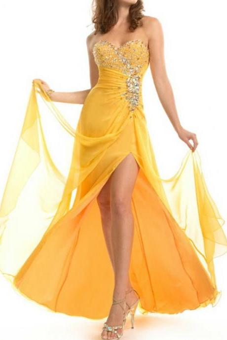 Beaded Yellow Color Slit Style Long Open Back Long Sexy Prom Dresses, Designers Latest Fashion 2016