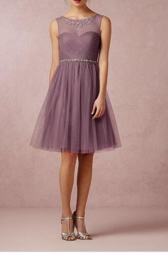 Tulle Purple Bridesmaid Gown ,Sleeveless Wedding Dress, Tulle Bridal Wedding Dress ,Halter Wedding Gowns
