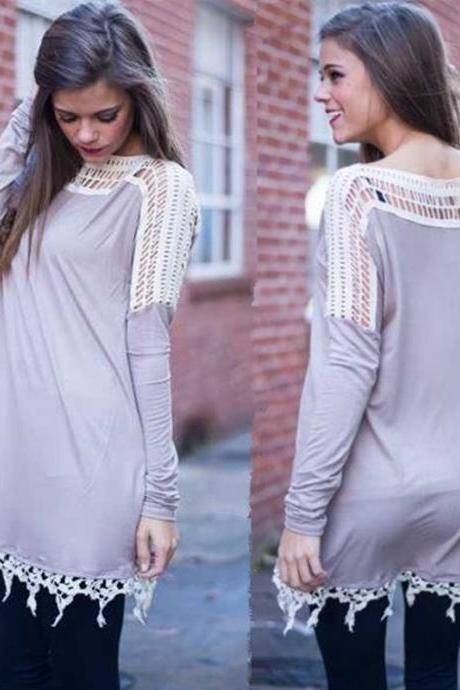 Women's fashion lace long-sleeved T-shirt