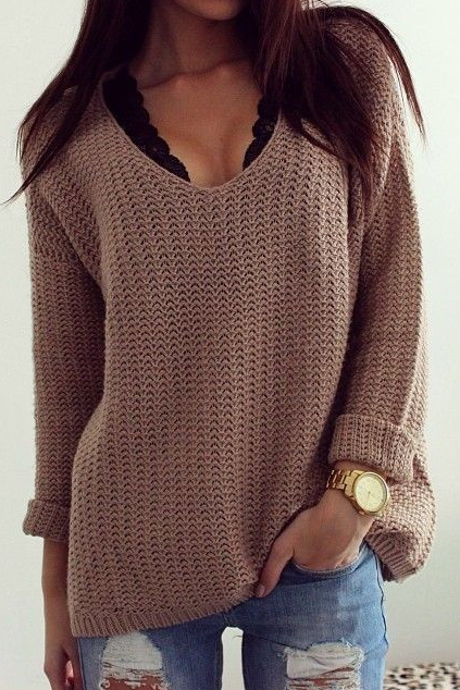 Fashion hollow-out v-neck loose sweaters 5094272