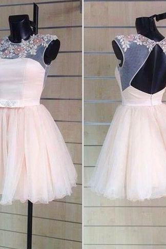 Custom Made A Line Round Neck Short Prom Dresses ,Short Homecoming Dress ,Graduation Dresses
