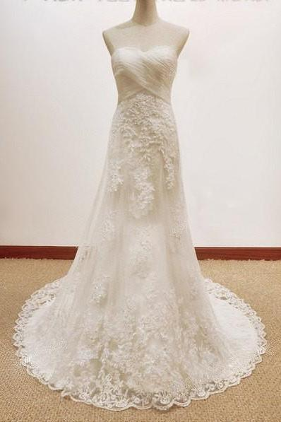 2015 Wedding Dresses,Sheath Sweetheart Wedding Dresses With Lace Appliques, Luxury Wedding Dresses,Vintage Wedding Dresses,Wedding Gowns,Bridal Gowns