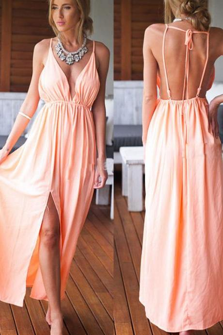 Backless Sexy Women Summer Boho Long Maxi Evening Party Dress Beach Dresses
