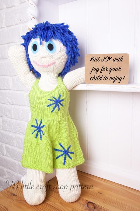 "Inside out ""JOY"" doll knitting pattern"