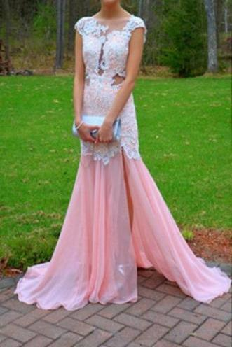 2016 Pink Prom Dresses, With Lace and Applique Beading Long Chiffon Boat Neck Sheer Back Party Dresses, Formal Longo Vestidos