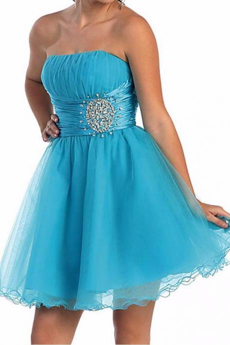 2016 Malibu Blue Short Party Dress, Short Prom Dress, Bridesmaid Dresses, Prom Dress with Beading