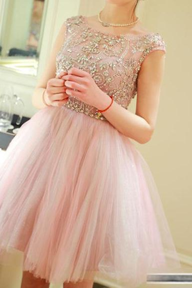Custom Made Round Neck Short Prom Dresses, Tulle Homecoming Dress,Short Mini Dresses for party/cocktail/homecoming