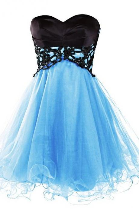 Baby Blue Short/Mini Homecoming Dresses, Sweetheart Short Prom Dresses,Cute Homecoming Dress
