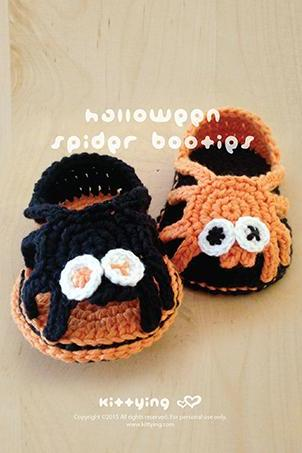 Halloween Crochet Pattern Spider Booties Spider Carefree Sandals Spider Baby Booties Spider Newborn Sandals Spider Baby Slippers Spider Applique