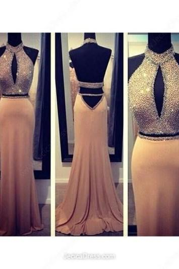 Two Pieces Prom Dress Sexy Halter Open Back Beautiful Beading Prom Dress Evening Dress L113