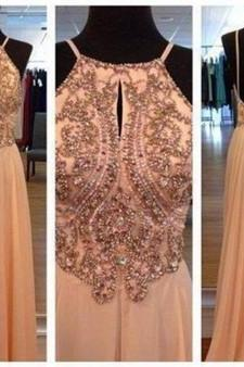 Sexy Long prom dress Backless Beading Prom Dress Sleeveless A Line prom dresses L114