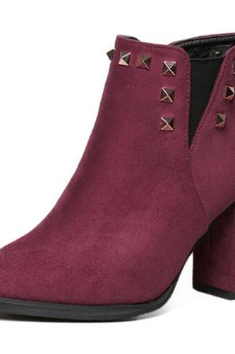 Spring Autumn Pointed Toe Zipper Design Rivets Decorated Chunky High Heel Red PU Ankle Martens Boots