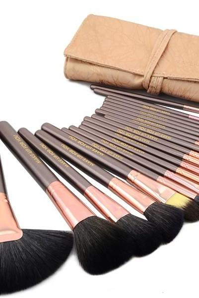 Top Grade Professional Makeup 20 Pcs Brushes Cosmetic Make Up Set With Leather Bag Kit - Champagne A3HVDSWFY12D5ISXXYZ7E L65M61Y7FWB