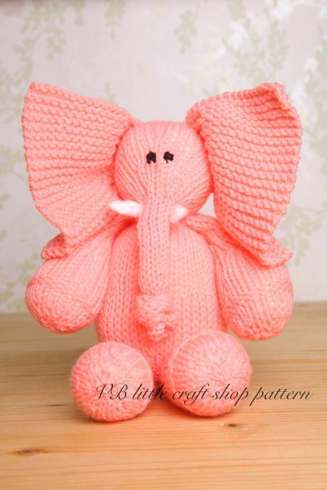 Elephant soft toy knitting pattern. One ball knit!