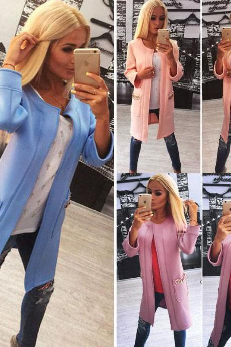 New 2015 Women Autumn Long Line Sleeve Cardigan Warm Overcoat Blazer Jacket Coat