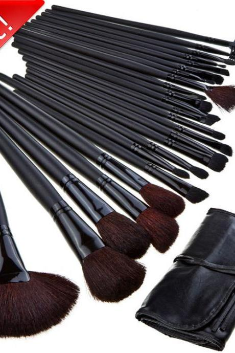 Hot sale Good Quality 24 Pcs Makeup Brushes Set With Black Leather Bag