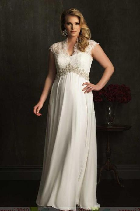New Empire Style Custom Cap Sleeve Beadings Lace&Chiffon Plus Size Wedding Dress Pregnant women wedding dress