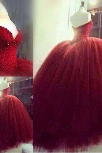 Burgundy Red Beaded Quinceanera Formal Prom Party Ball Gown Wedding Dresses Custom Size