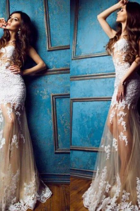 Sexy White Lace Appliques Mermaid See Through Evening Dresses Fitted Women Prom Dress 2015 Crew Party Dresses
