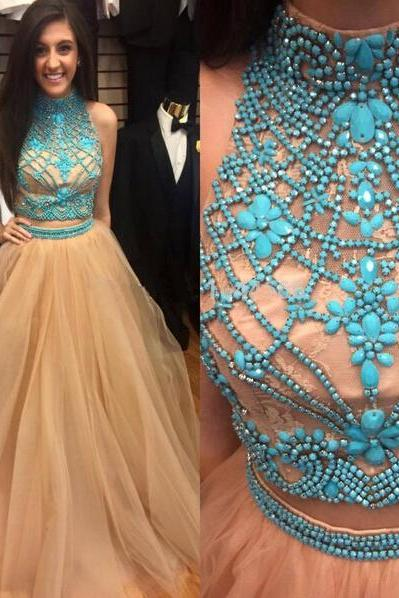 2 Piece Prom Dress Champagne Prom Dress Gorgeous Prom Dress, Blue Prom Dress Beautiful Prom Dress Two Piece Prom Dress Prom Dress Pretty Dress Evening Dress High Quality Prom Dress