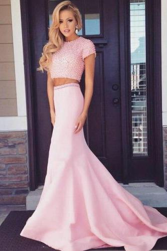 Real Made Pink Floor-Length Beading Prom Dresses Sexy Evening Dresses Charming Prom Dresses Two Pieces Prom Dresses On Sale
