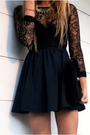 Black Lace Hollow Backless Dress