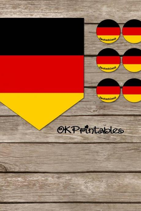 German Flag Round Labels & Banner Set -- Black, Red, Gold, Germany Party, Study Abroad, Language Teaching, Printable