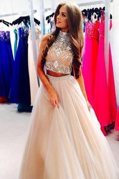 Custom Made Light Champagne 2 Pieces Long Prom Dress, Dresses For Prom Two Pieces Prom Dresses Formal Dresses Homecoming Dresses