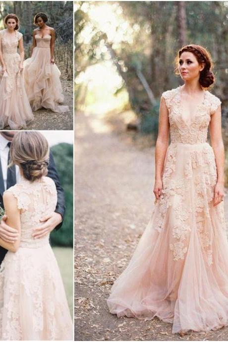 Custom Made V Neck Lace Wedding Dresses 2017 Puffy Bridal Gowns Vintage Country Garden Wedding Dress Champagne Wedding Gowns
