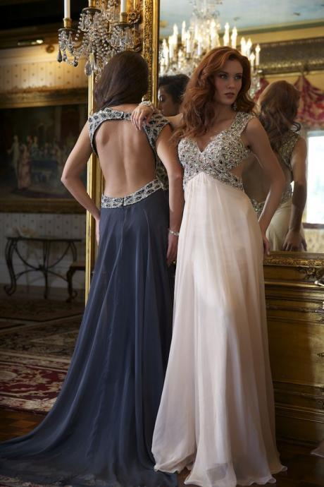 Sexy Chiffon Floor Length Open Back Prom Dresses Party Dresses Wedding Dresses Evening Dresses Formal Dresses Dreeses For Prom