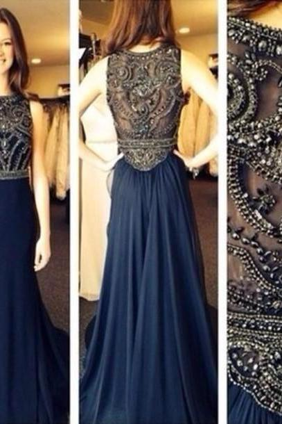 Custom Made A Line Dark Navy Blue Beaded Long Prom Dresses 2015 Formal Dresses Navy Blue Evening Dresses Graduation Dresses