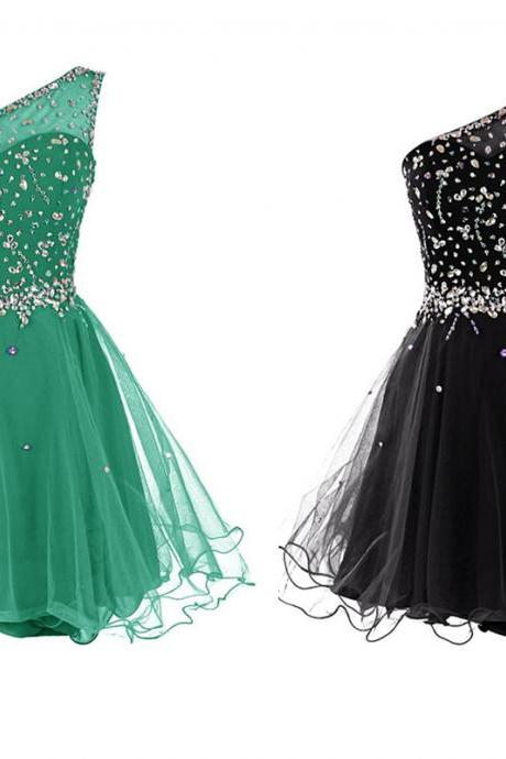Homecoming Dress Short Homecoming Dresses2015 Homecoming Dress Beaded Homecoming Dresses One Shoulder Homecoming Dress Party Dresses
