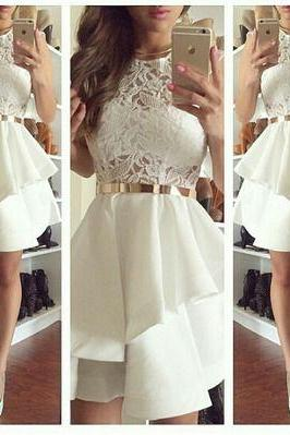White Lace Prom Dress Round Neck Long Prom Dresses Golden belt Homecoming Dress Elegant Women dress,Party dress L198