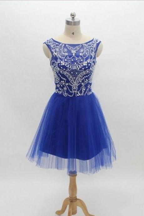Elegant royal blue tulle boat neck sleeveless knee length short dress prom, beaded evening dress,modest homecoming dress,corset homecoming dress