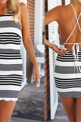 Sling Round Neck Stripe Dress