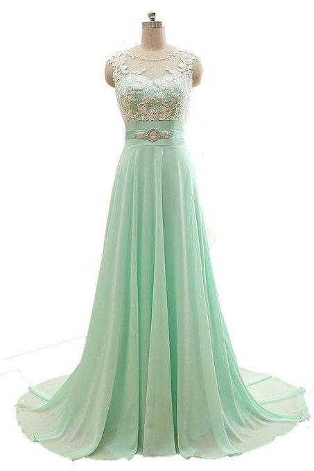 Online Shopping Mint Green Prom Evening Dresses In Chiffon Pleated,Appliqued Evening Dress A Line