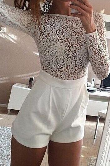 Fashion Lace Splicing Long Sleeve White Romper