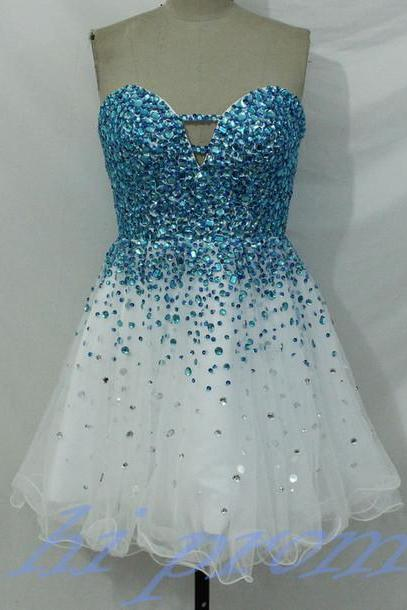 White Homecoming Dress,Sparkle Homecoming Dresses,Blue Beading Homecoming Gowns,2015 Fashion Prom Gowns,Sparkly Sweet 16 Dress,Fitted Homecoming Dresses,Corset Cocktail Dress,Modest Parties Evening Gowns