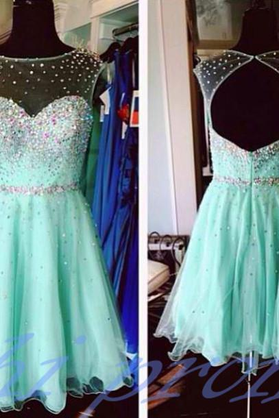 Mint Green Homecoming Dress,Backless Homecoming Dresses,Tulle Homecoming Dress,Backless Party Dress,Open Back Prom Gown,Open Backs Sweet 16 Dress,Cocktail Gowns,Short Evening Gowns