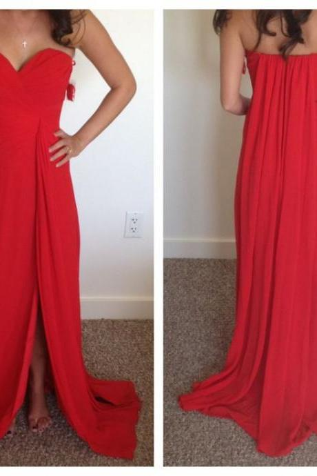 Sweatheart-neck Prom Dress, Long prom dress,Red prpom dress,high quality prom dress, Elegant Women dress,Party dress Backless Evening Dress L435