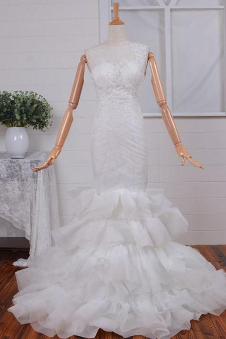 Tulle and Organza A-line High Neck Wedding Dress with Court Train and Button On the Back