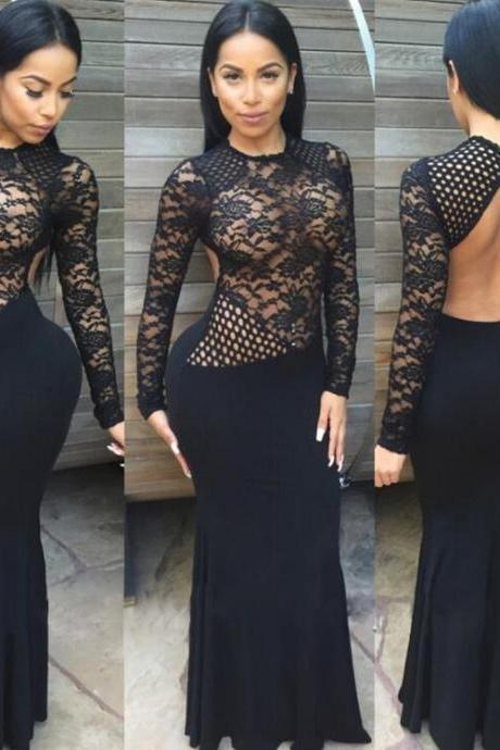 Sexy black lace backless dress